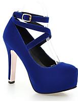 Недорогие -Жен. Балетки Замша Весна Обувь на каблуках На толстом каблуке Черный / Красный / Синий