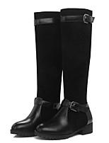 Недорогие -Жен. Fashion Boots Полиуретан Зима Ботинки На толстом каблуке Сапоги до середины икры Черный / Темно-русый / Тёмно-синий
