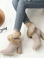 Недорогие -Жен. Комфортная обувь Замша Наступила зима Обувь на каблуках На толстом каблуке Круглый носок Черный / Миндальный