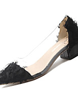 Недорогие -Жен. Балетки Полиуретан Осень Обувь на каблуках На толстом каблуке Заостренный носок Белый / Черный / Розовый / Повседневные