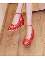 Недорогие -Жен. Балетки Полотно Лето Обувь на каблуках Туфли на танкетке Красный