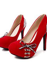 abordables -Femme Escarpins Daim Printemps Doux Chaussures à Talons Talon Aiguille Noeud Noir / Rouge / Soirée & Evénement