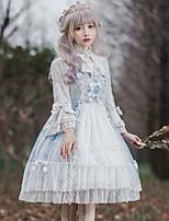 economico -Dolce Lolita Classica e Tradizionale Classico Vintage Ruffle Dress Per femmina Vestiti Cosplay Marrone / Verde / Blu A campana Manica lunga Midi Costumi Halloween