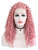 billiga -Syntetiska snörning framifrån Lockigt Frisyr i lager Syntetiskt hår 24 tum Justerbar / Värmetåligt Rosa Peruk Dam Lång Spetsfront Rosa