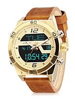 Недорогие -NAVIFORCE Муж. Спортивные часы Наручные часы Японский Японский кварц 30 m Защита от влаги Календарь С двумя часовыми поясами Натуральная кожа Группа Аналоговый На каждый день Мода Синий / Коричневый