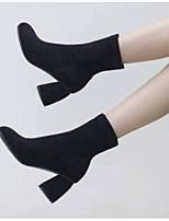 Недорогие -Жен. Fashion Boots Замша Зима Ботинки На толстом каблуке Закрытый мыс Ботинки Черный / Темно-серый / Светло-серый
