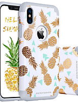 baratos -Capinha Para Apple iPhone X / iPhone XS Antichoque / Estampada Capa traseira Fruta Rígida PC / silica Gel para iPhone XS / iPhone X