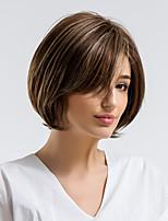 Недорогие -Человеческие волосы без парики Натуральные волосы Прямой Боковая часть Природные волосы Разноцветный Без шапочки-основы Парик Жен. На каждый день