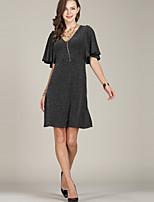 preiswerte -Damen Grundlegend / Elegant Aufflackern-Hülsen- A-Linie / Hülle / Das kleine Schwarze Kleid Gestreift Übers Knie