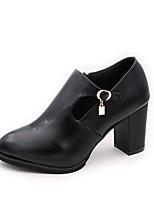 Недорогие -Жен. Ботильоны Полиуретан Осень На каждый день Ботинки На толстом каблуке Ботинки Черный