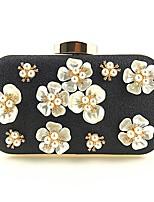 abordables -Femme Sacs Polyester / Alliage Sac de soirée Détail Perle / Fleur Floral / Botanique Noir / Argent