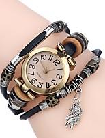baratos -Mulheres Relógio Esportivo Bracele Relógio Quartzo Relógio Casual Adorável Couro Banda Analógico Casual Fashion Preta / Branco / Vermelho - Marron Vermelho Azul