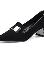 baratos -Mulheres Sapatos Confortáveis Camurça Primavera Sapatos De Casamento Salto Robusto Preto / Marron
