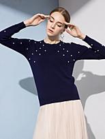Недорогие -Жен. Активный Пуловер - Однотонный, Бусины / Жемчуг