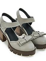 Недорогие -Жен. Комфортная обувь Полиуретан Весна Обувь на каблуках На толстом каблуке Черный / Серый / Миндальный