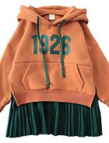 Недорогие -Дети / Дети (1-4 лет) Девочки Контрастных цветов / Буквы Длинный рукав Платье