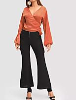 baratos -Mulheres Blusa Sólido Algodão Decote V