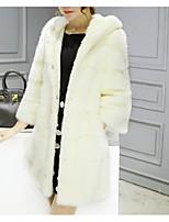 Недорогие -Жен. Пальто с мехом Однотонный, Искусственный мех