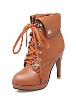 Недорогие -Жен. Fashion Boots Полиуретан Наступила зима Классика / На каждый день Ботинки На шпильке Круглый носок Ботинки Черный / Бежевый / Желтый