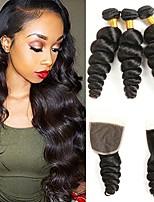 Недорогие -3 комплекта с закрытием Индийские волосы / Вьетнамские волосы Свободные волны Натуральные волосы / Необработанные натуральные волосы Подарки / Человека ткет Волосы / Сувениры для чаепития 8-20
