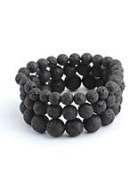 abordables -Homme Noir Pierre volcanique Perles Bracelets - Rétro, Décontracté / Sport, Ethnique Bracelet Noir Pour Plein Air Travail / 3pcs