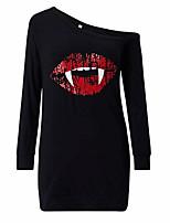 baratos -Mulheres Básico Camiseta Vestido - Patchwork / Estampado, Sólido Acima do Joelho