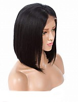 Недорогие -Remy Полностью ленточные Лента спереди Парик Бразильские волосы Шелковисто-прямые Парик Средняя часть 130% Плотность волос Средний размер Природные волосы Черный Жен. Короткие