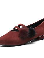 Недорогие -Жен. Комфортная обувь Замша / Овчина Зима Обувь на каблуках На низком каблуке Черный / Винный