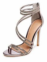 abordables -Femme Chaussures de confort Microfibre Eté Chaussures à Talons Talon Aiguille Noir / Argent