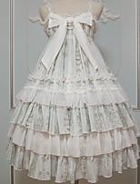 economico -Abito casual Lolita Dolce Ruffle Dress Per femmina Gonna pullover Cosplay Verde Ricami in pizzo Senza maniche Senza maniche Midi Costumi Halloween
