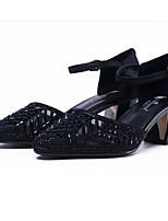 Недорогие -Жен. Комфортная обувь Полиуретан Лето Обувь на каблуках На толстом каблуке Черный / Серебряный