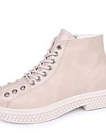 Недорогие -Жен. Fashion Boots Полиуретан Наступила зима На каждый день Ботинки Для прогулок На низком каблуке Круглый носок Ботинки Черный / Бежевый
