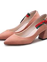 Недорогие -Жен. Балетки Замша Весна Обувь на каблуках На толстом каблуке Черный / Коричневый / Розовый