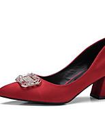 baratos -Mulheres Sapatos Confortáveis Couro Ecológico Primavera Sapatos De Casamento Salto Robusto Preto / Vermelho