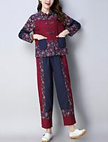 Недорогие -Жен. Рубашка Брюки Контрастных цветов