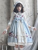 economico -Dolce Abito casual Lolita Florale Nastri Elegante Per femmina Vestiti Cosplay Bianco / Blu A campana Maniche a 3/4 Midi Costumi Halloween