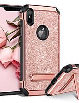 baratos -Capinha Para Apple iPhone XR / iPhone XS Max Antichoque / Com Suporte / Galvanizado Capa traseira Glitter Brilhante Rígida PU Leather / PC para iPhone XR / iPhone XS Max