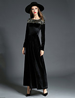 Недорогие -Жен. Классический / Элегантный стиль Оболочка Платье - Однотонный, Бусины Средней длины