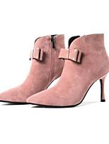 Недорогие -Жен. Fashion Boots Замша Зима Ботинки На шпильке Закрытый мыс Ботинки Черный / Розовый