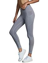 cheap -Women's Pocket Yoga Pants - Black, Grey Sports Solid Color Spandex, Mesh Leggings Running, Fitness, Dance Activewear Anatomic Design, Breathable, Compression High Elasticity Slim