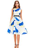 Недорогие -Жен. Изысканный С летящей юбкой Платье - Геометрический принт, С принтом До колена