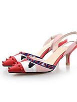 Недорогие -Жен. Комфортная обувь Наппа Leather Лето Свадебная обувь На шпильке Красный / Свадьба