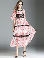 baratos -Mulheres Moda de Rua balanço Vestido - Estampado / Guarnição do laço, Floral Longo