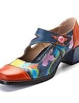 Недорогие -Жен. Комфортная обувь Кожа Лето Обувь на каблуках На толстом каблуке Синий