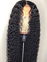 Недорогие -Remy Лента спереди Парик Бразильские волосы Kinky Curly Парик Средняя часть 130% Природные волосы / С отбеленными узлами Жен. Длинные Парики из натуральных волос на кружевной основе