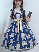 economico -Dolce Vintage Elegante Per femmina Vestiti Cosplay Blu inchiostro Senza maniche Senza maniche Midi Costumi Halloween