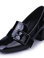 Недорогие -Жен. Балетки Полиуретан Осень Обувь на каблуках На толстом каблуке Квадратный носок Черный / Красный / Зеленый / Повседневные