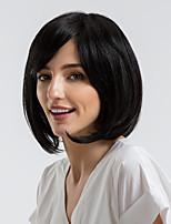 Недорогие -Человеческие волосы без парики Натуральные волосы Прямой Стрижка боб Природные волосы Черный Без шапочки-основы Парик Жен. На каждый день
