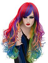 Недорогие -Wig Accessories Кудрявый Средняя часть Искусственные волосы 26 дюймовый Модный дизайн / Sexy Lady Красный / Синий Парик Жен. Длинные Без шапочки-основы Радужный