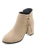 Недорогие -Жен. Fashion Boots Полиуретан Наступила зима Ботинки На толстом каблуке Черный / Бежевый / Коричневый